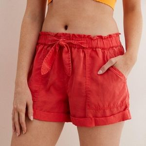Aerie Coral Paperbag Tie Waist Utility Camp Shorts
